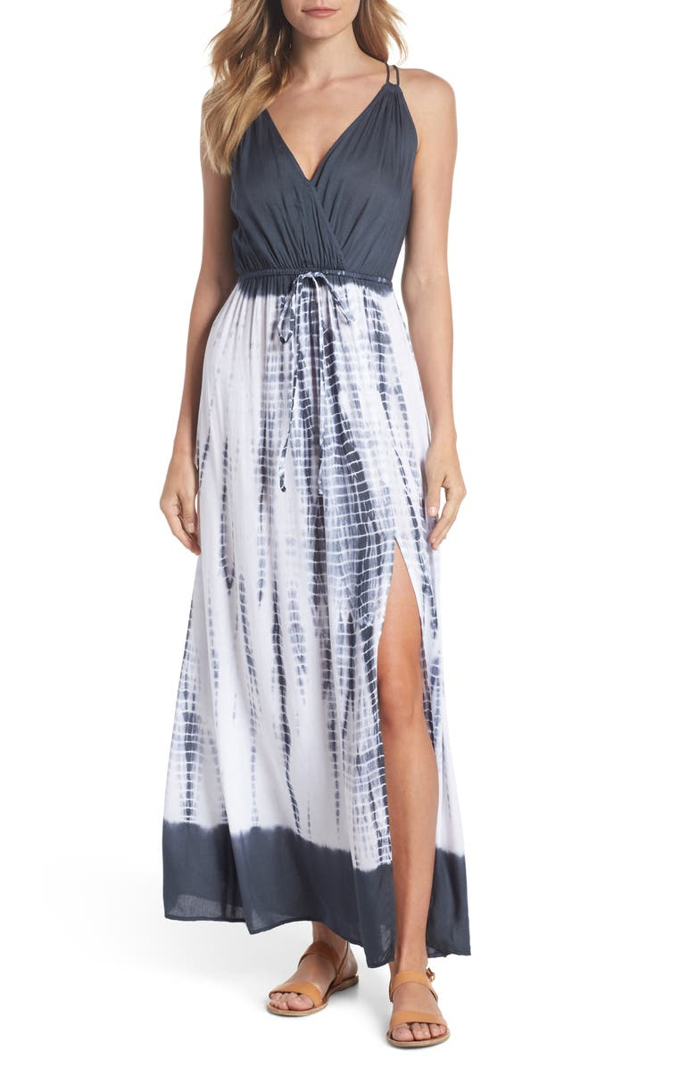 ELAN Tie Back Cover-Up Maxi Dress, Main, color, BLACK TD