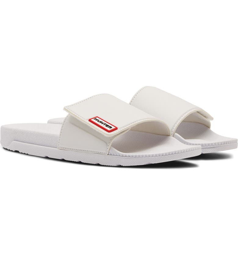 HUNTER Original Adjustable Slide Sandal, Main, color, WHITE