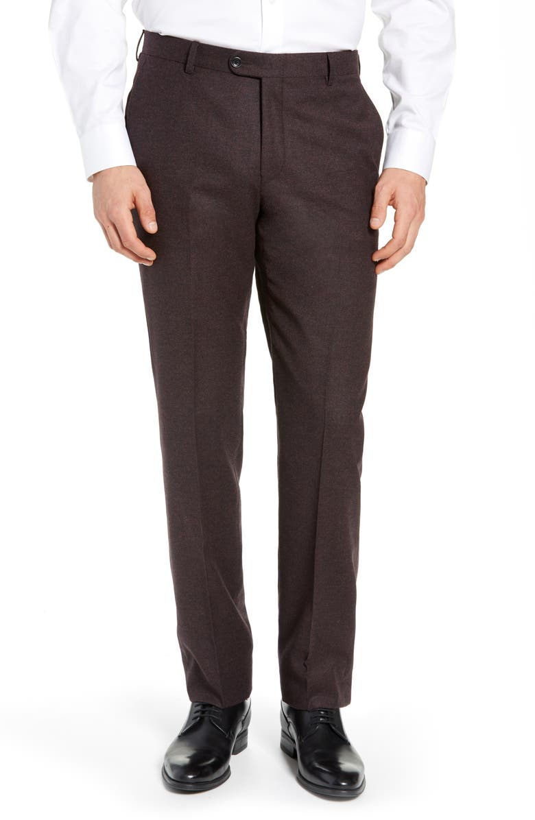 HICKEY FREEMAN Classic B Fit Solid Dress Pants, Main, color, BURGUNDY