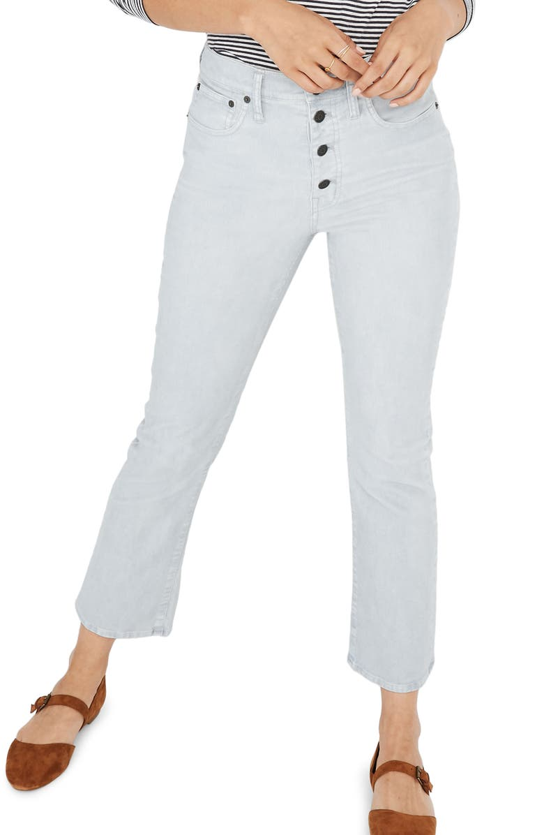 MADEWELL Cali Button Front Demi-Boot Corduroy Pants, Main, color, COOL FOG