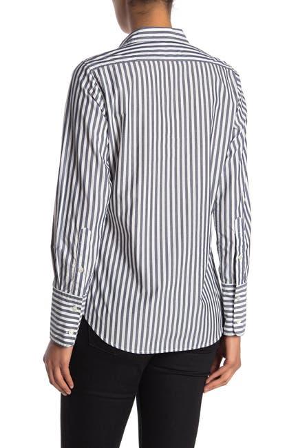 Image of NILI LOTAN Helen Stripe Print Cotton Button Down Shirt