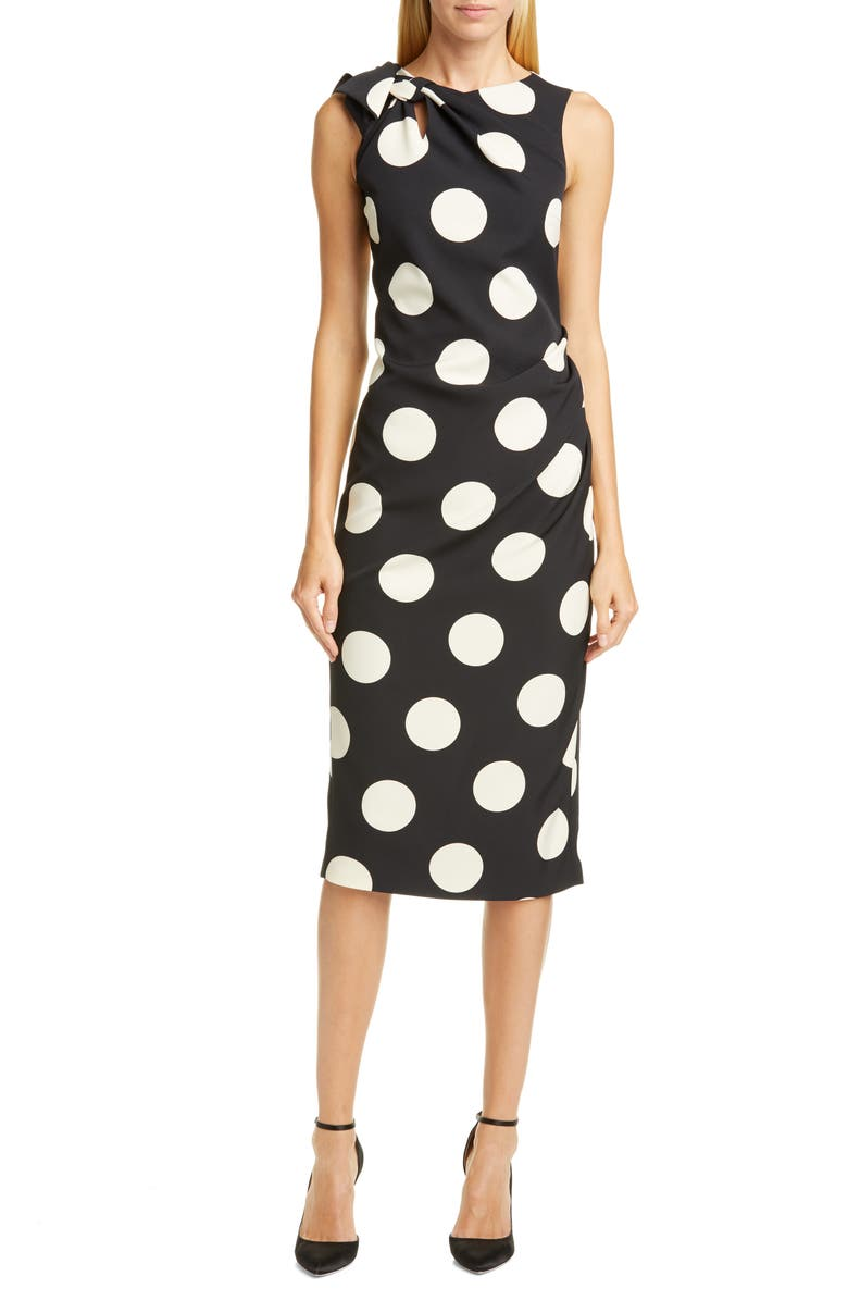 CHRISTIAN SIRIANO Polka Dot Bow Shoulder Cocktail Dress, Main, color, BLACK/ WHITE