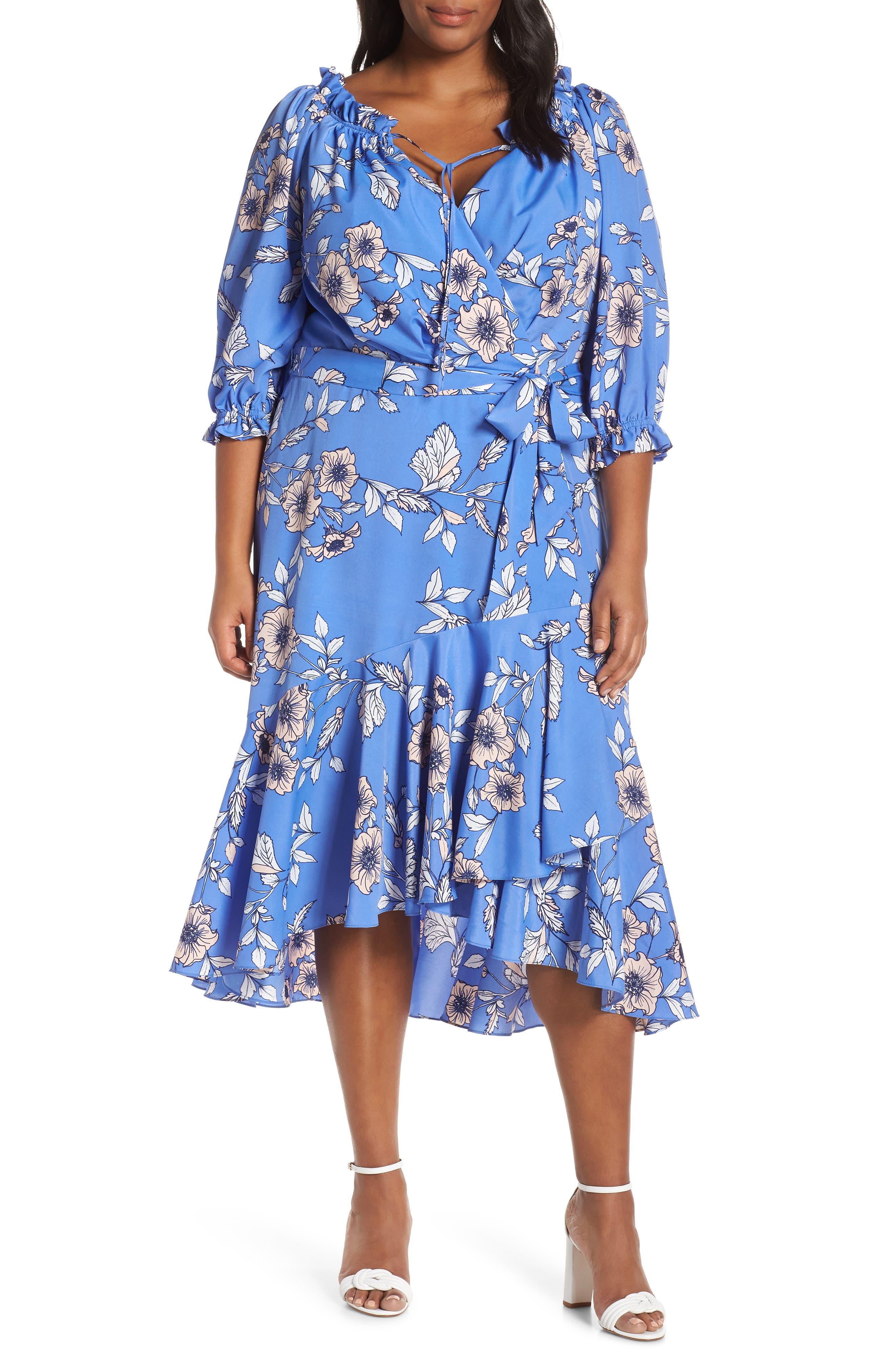Plus Size Eliza J Gathered Neck Faux Wrap Midi Dress, Blue