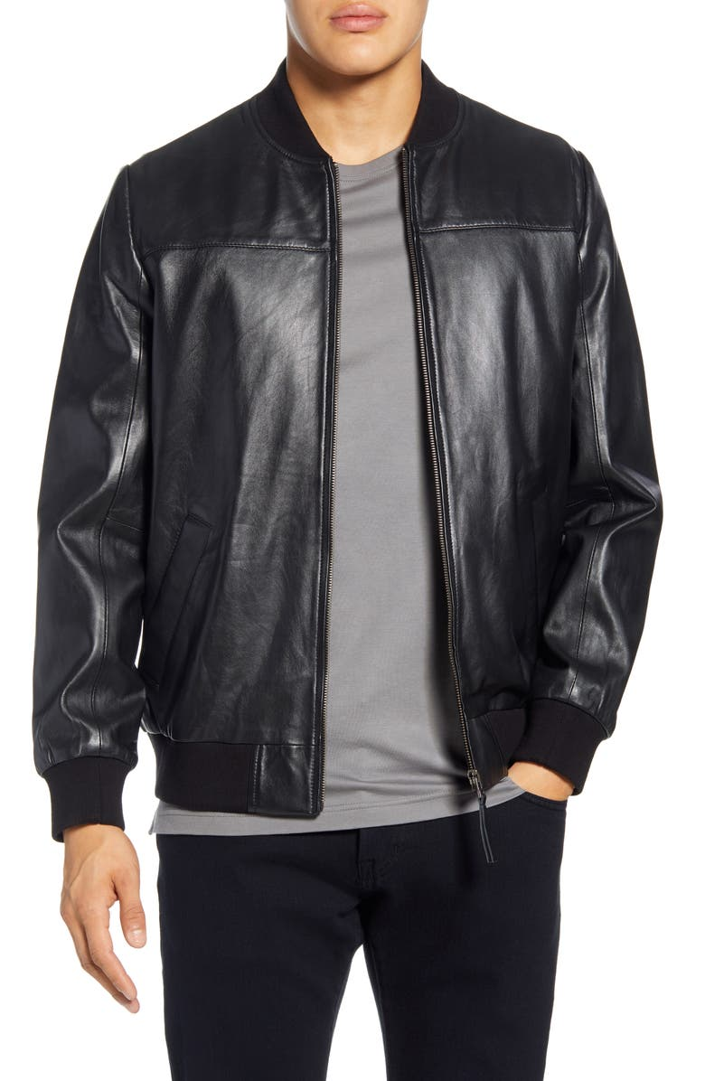 BAGATELLE Lambskin Leather Bomber Jacket, Main, color, 001