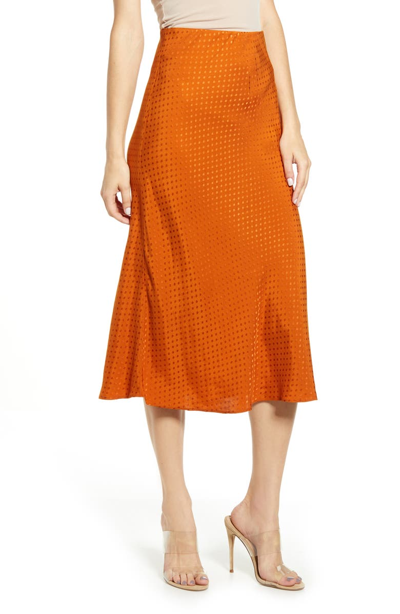 LEITH Bias Cut Midi Skirt, Main, color, RUST UMBER