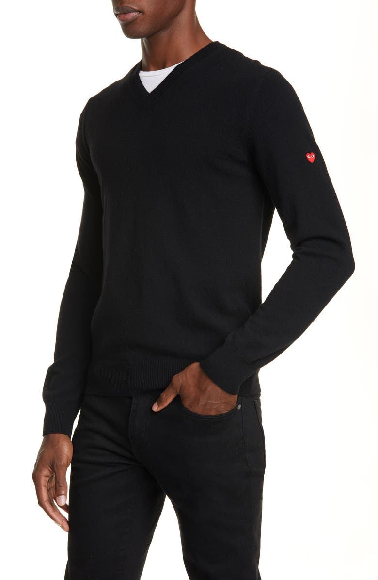COMME DES GARÇONS PLAY V-Neck Wool Sweater, Main, color, BLACK