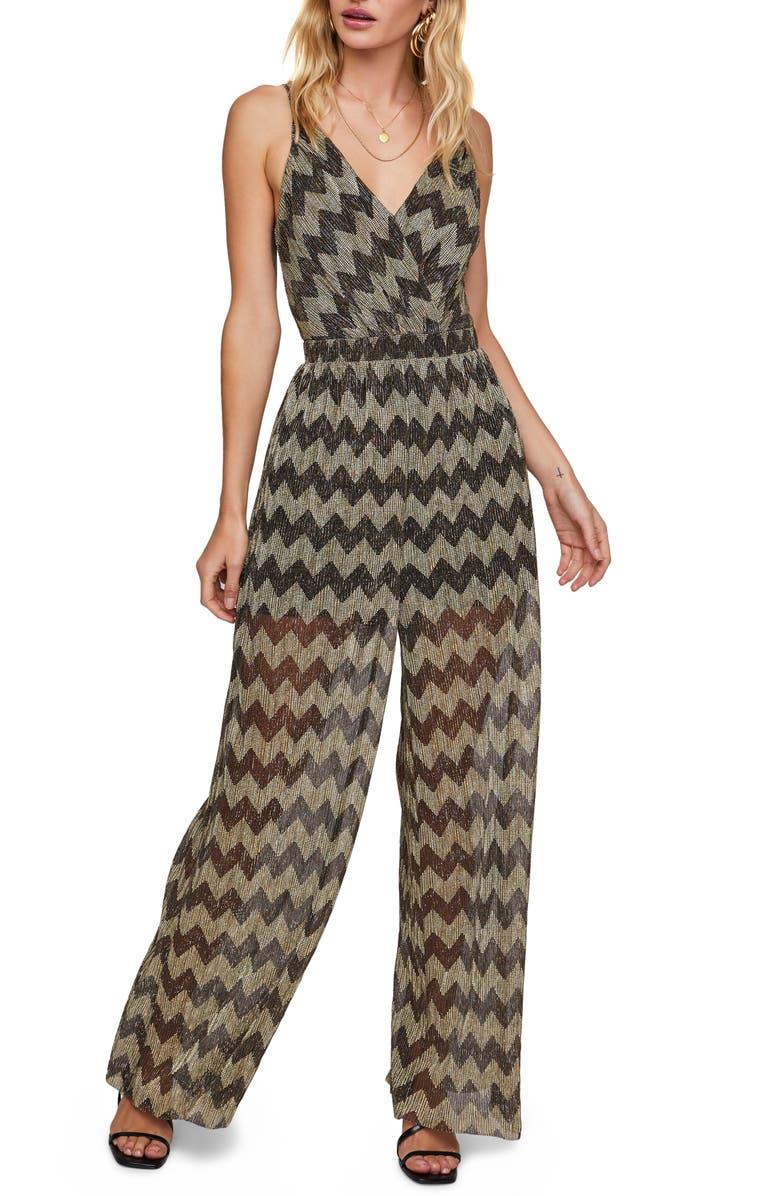 ASTR THE LABEL Phoebe Metallic Zigzag Jumpsuit, Main, color, GOLD CHEVRON