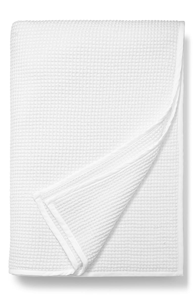 BOLL & BRANCH Waffle Cotton Blanket, Main, color, WHITE