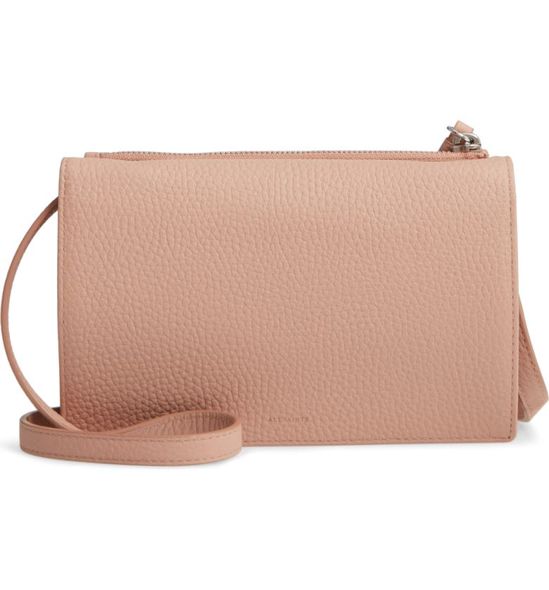 Pale pink pebbled leather ALLSAINTS Fetch Crossbody Bag in NUDE PINK. #handbags #pinkpurse #nudepink
