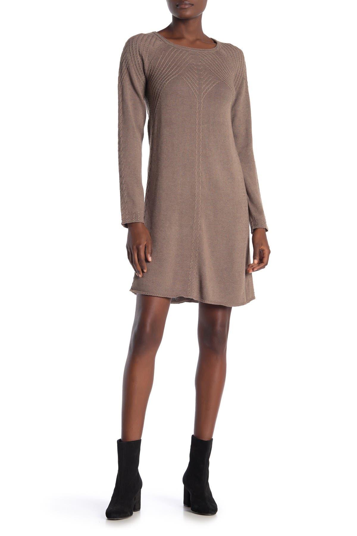 Image of Max Studio Textured Long Sleeve Sweater Dress