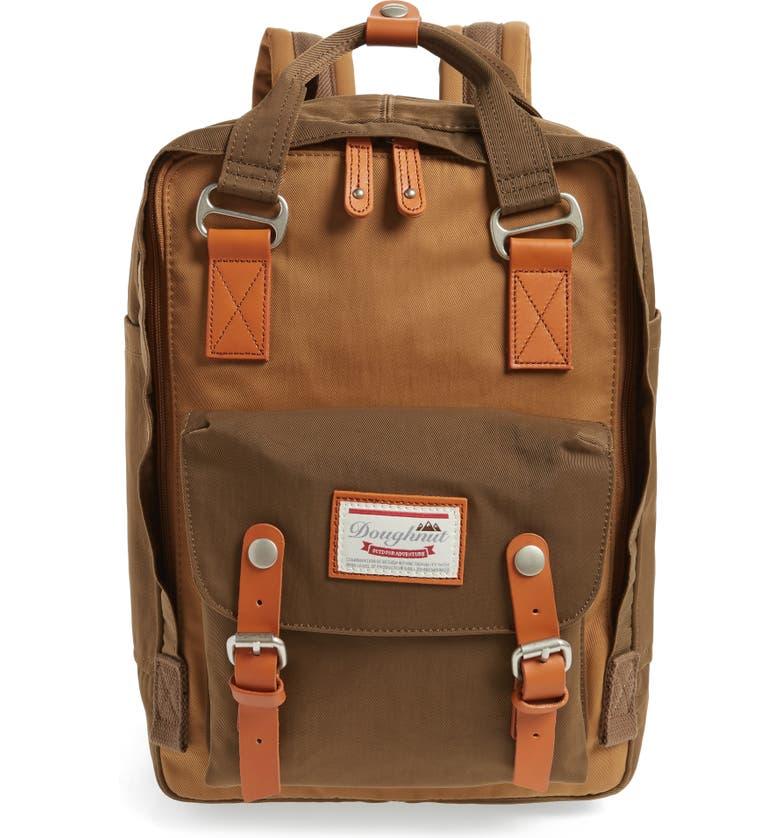 DOUGHNUT Macaroon Colorblock Backpack, Main, color, KHAKI/ ARMY