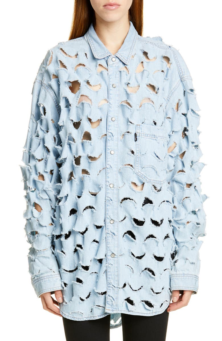 VETEMENTS Cutout Denim Shirt, Main, color, 400