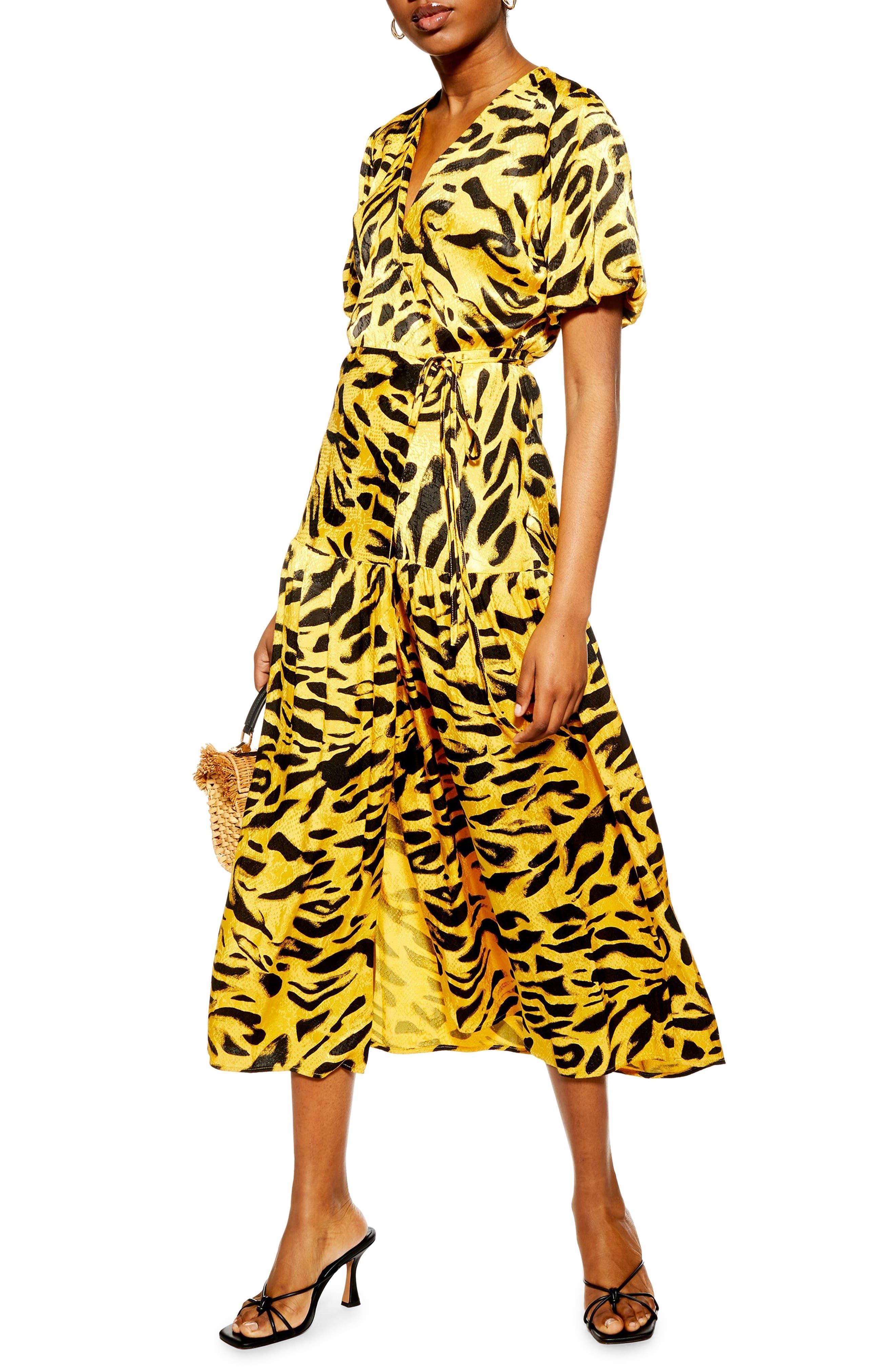 Topshop Jacquard Wrap Dress, US (fits like 2-4) - Yellow
