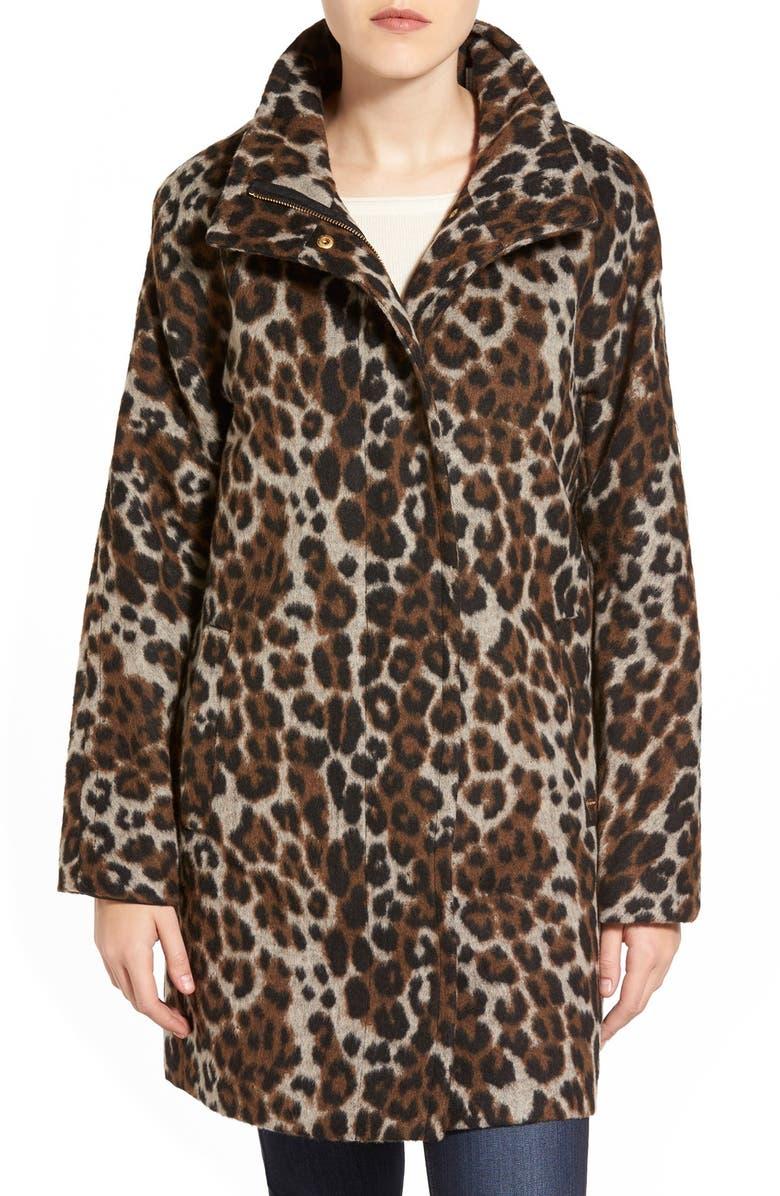 ELLEN TRACY Leopard Print Car Coat, Main, color, 722
