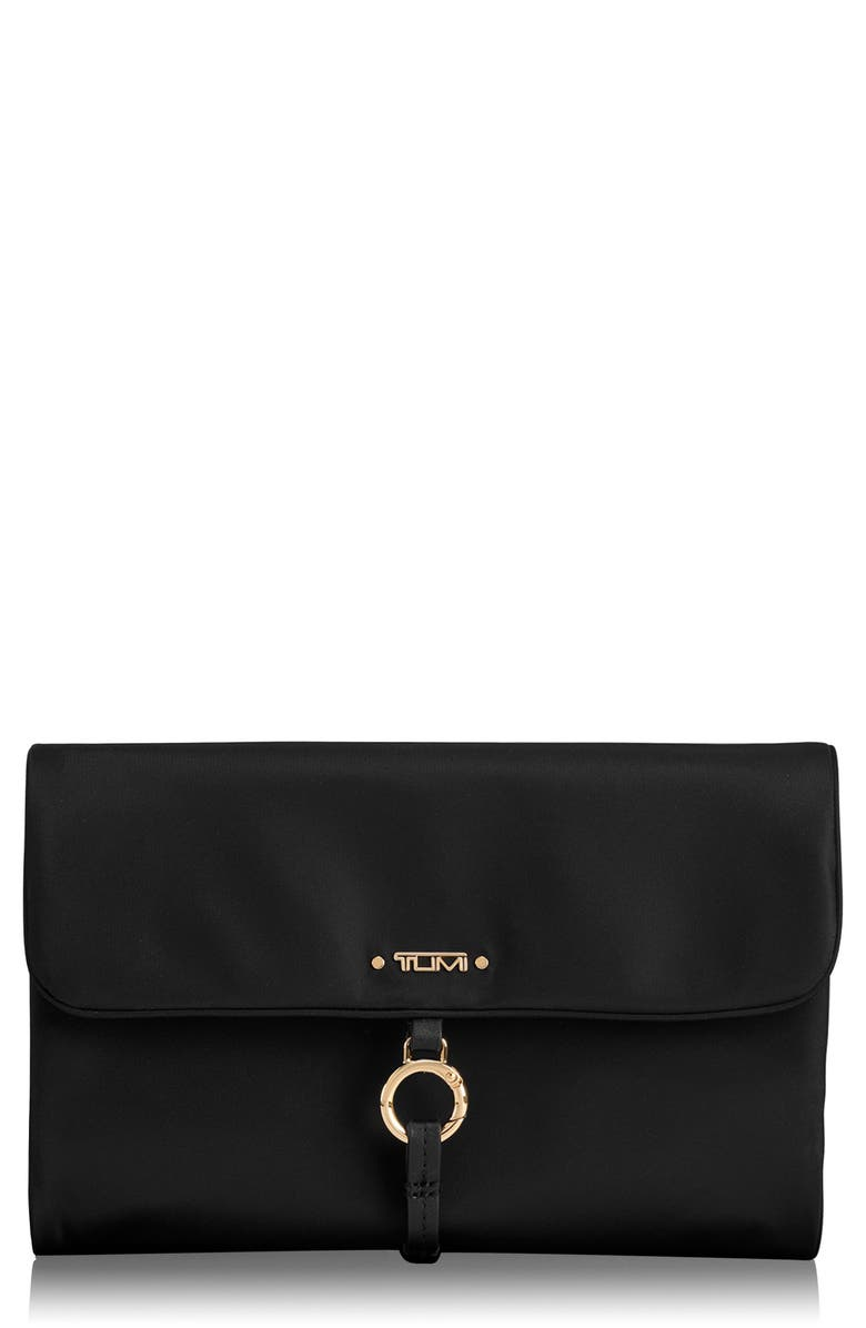 TUMI Voyageur Ennis Nylon Jewelry Roll, Main, color, BLACK