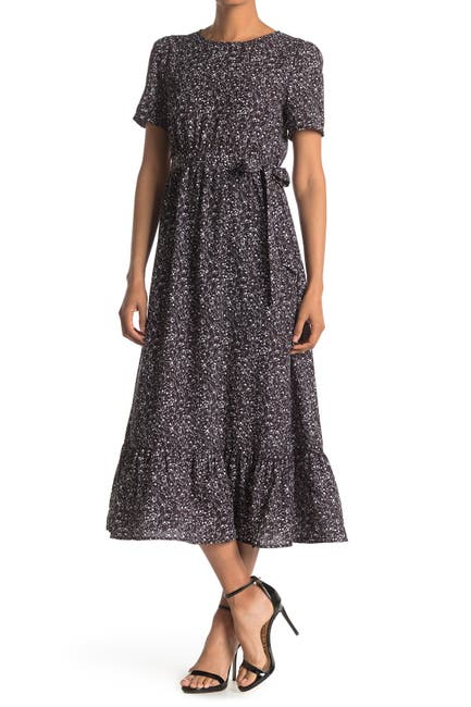 Image of SEE THE SHADES Floral Waist Tie Flounce Hem Dress