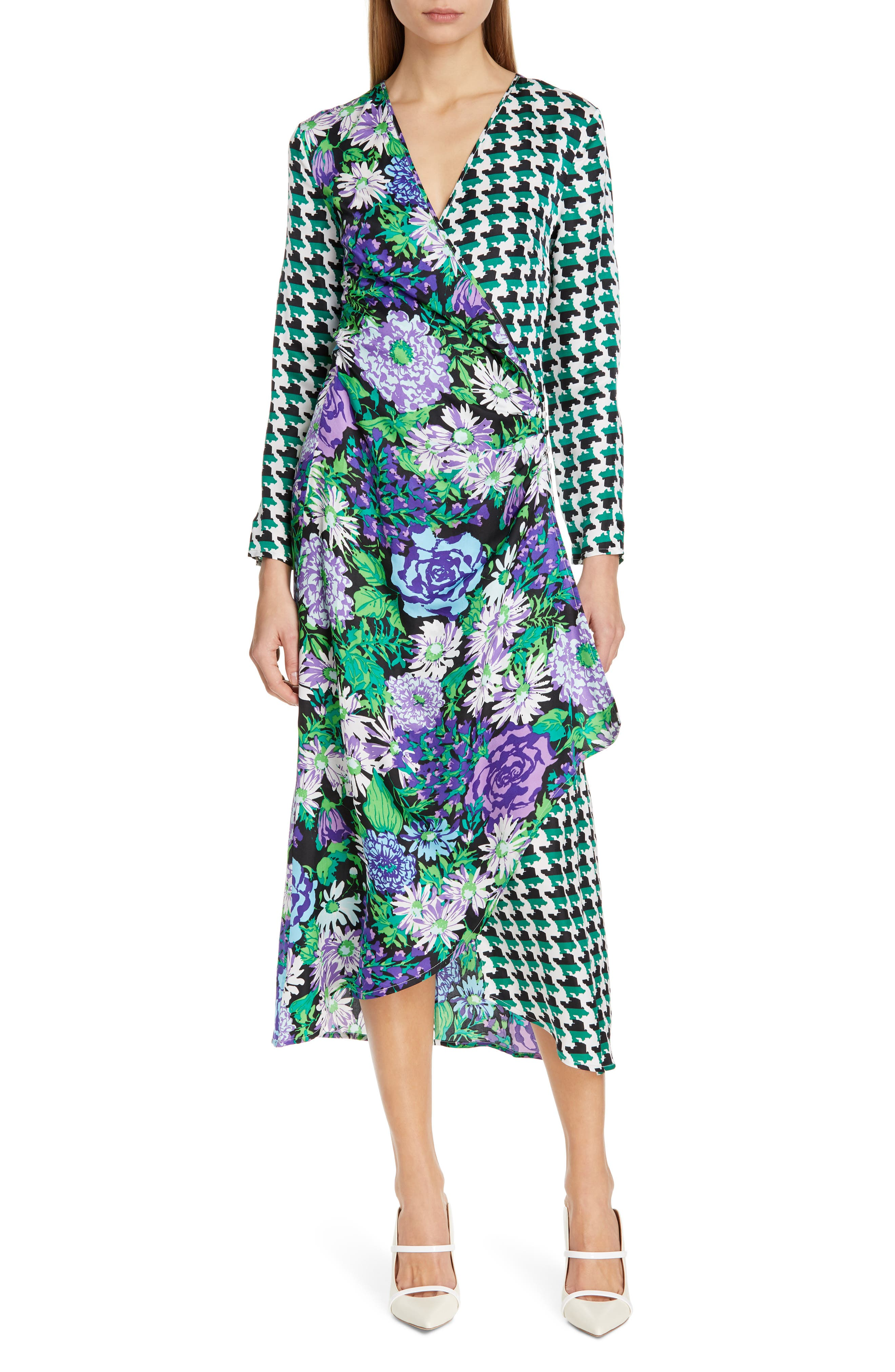 Rixo Betty Floral & Houndstooth Print Wrap Dress, US / 6 UK - Green