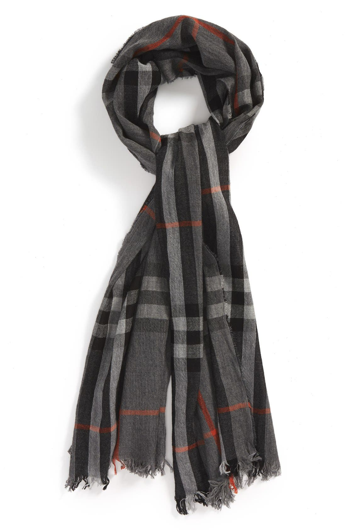 ,                             Check Merino Wool & Cashmere Scarf,                             Main thumbnail 1, color,                             032