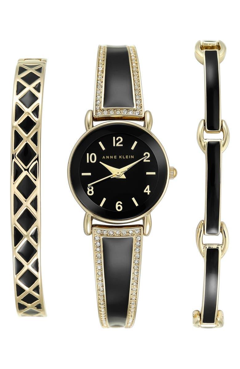 ANNE KLEIN Boxed Bracelet & Bangle Watch Set, 24mm, Main, color, 001