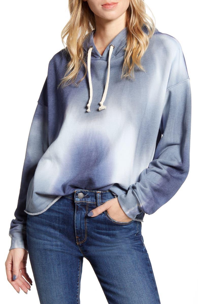 TREASURE & BOND Tie Dye Hooded Sweatshirt, Main, color, NAVY- BLUE COMBO