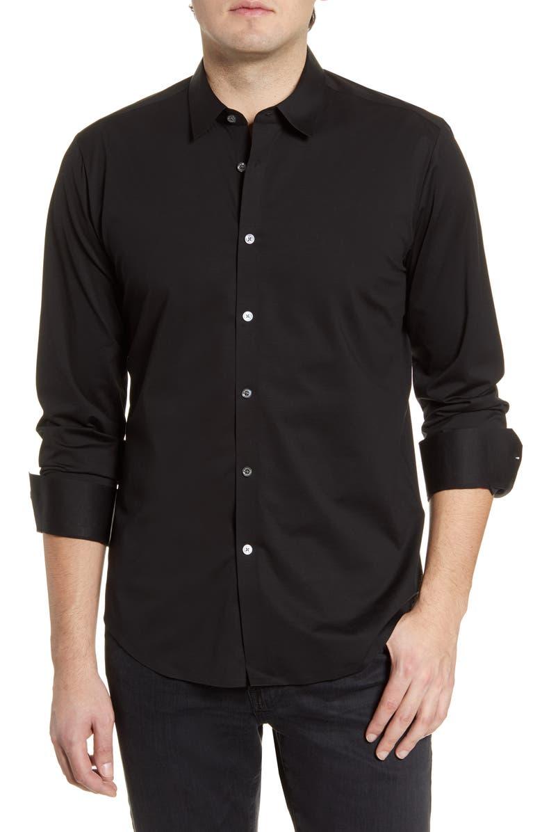 BUGATCHI Knit Button-Up Shirt, Main, color, BLACK