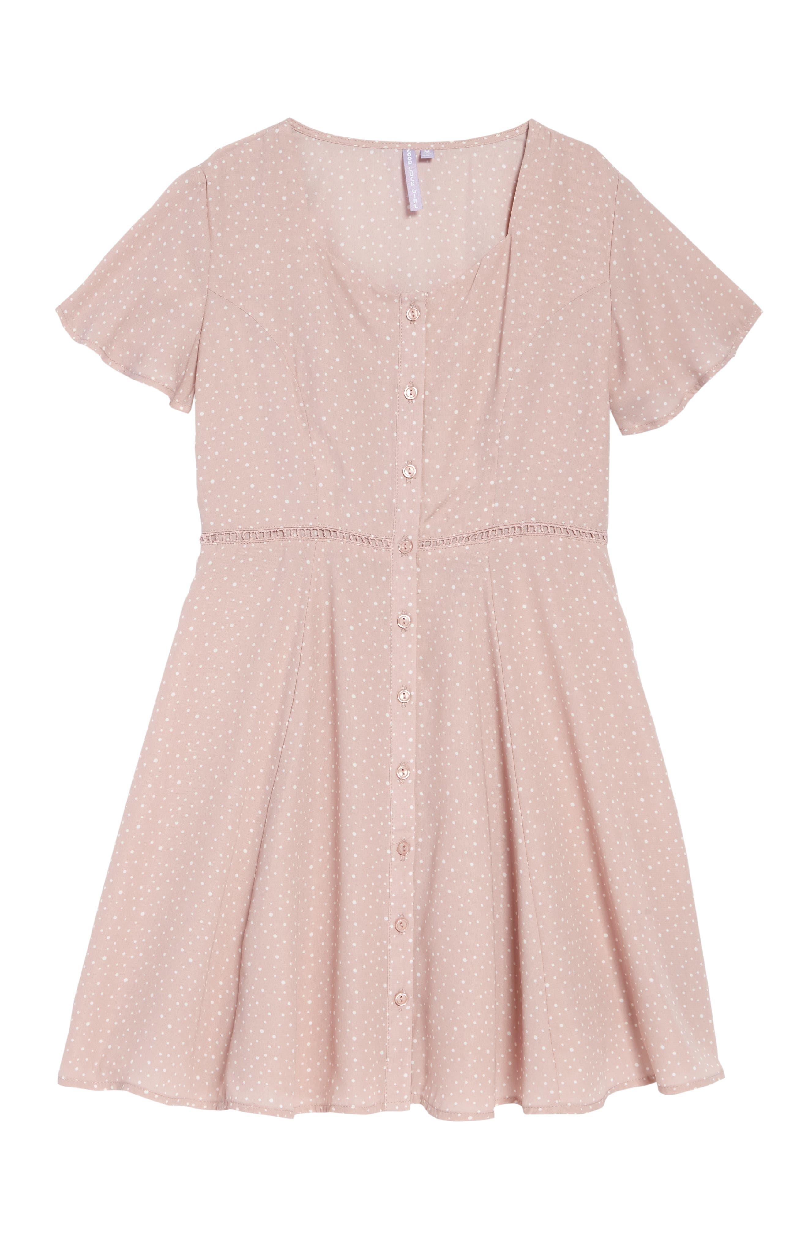 ,                             Flutter Sleeve Dress,                             Main thumbnail 1, color,                             PINK