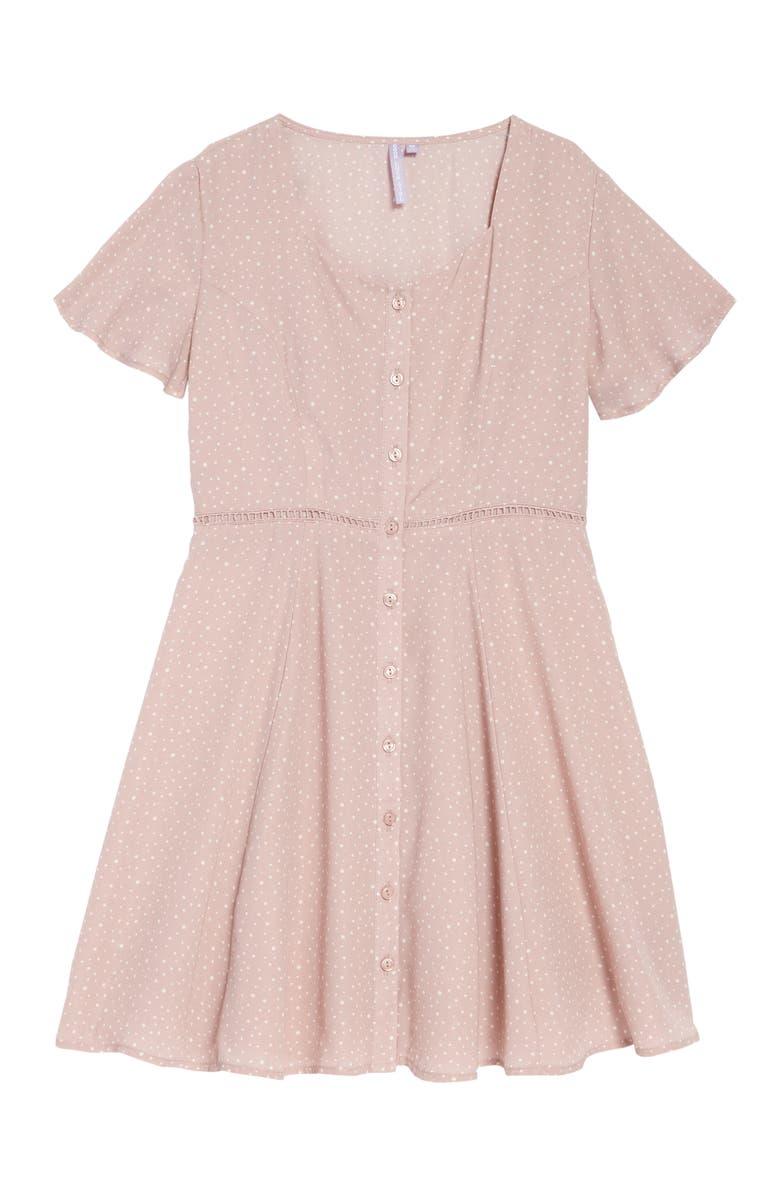 GOOD LUCK GIRL Flutter Sleeve Dress, Main, color, 650