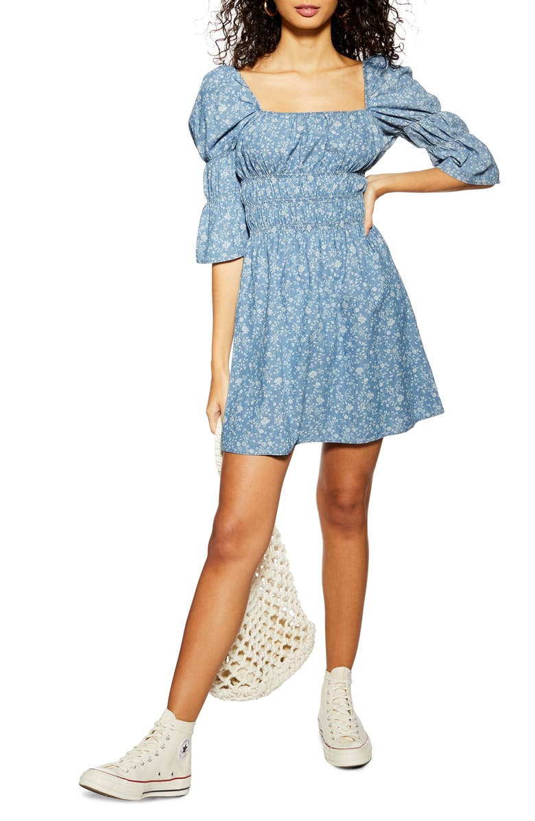 TOPSHOP Shirred Floral Minidress, Main, color, BLUE MULTI