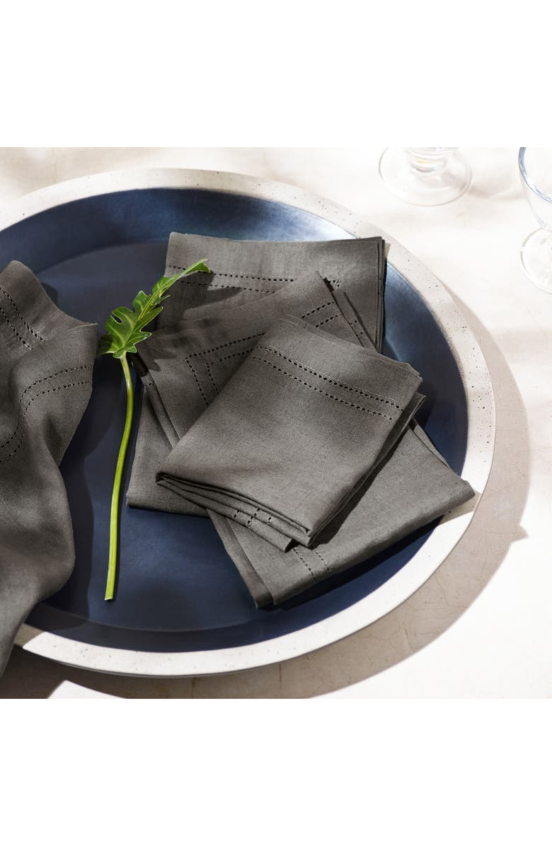 THE WHITE COMPANY Summer Set of 4 Table Napkins, Main, color, DARK GREY