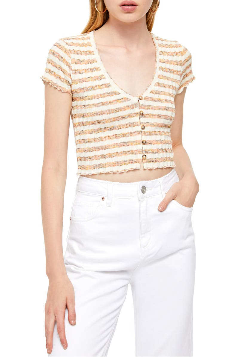 BDG URBAN OUTFITTERS Space Dye Stripe Crop Top, Main, color, 800