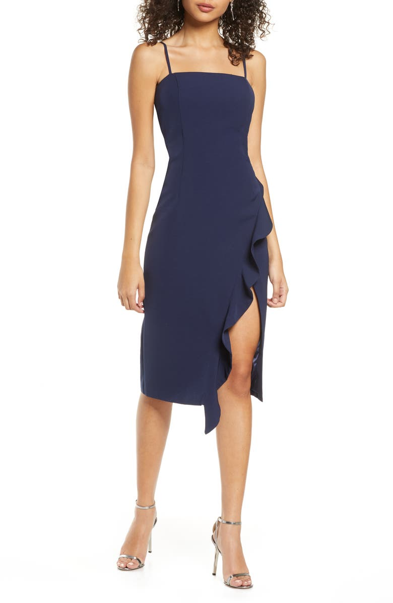 BARDOT Carmelle Cocktail Dress, Main, color, NAVY