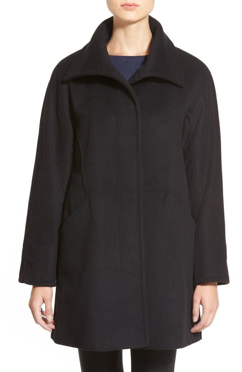 ELLEN TRACY Convertible Collar Kimono Sleeve Coat, Main, color, 001