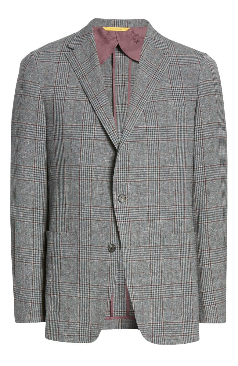 HICKEY FREEMAN Classic Fit Wool Blend Plaid Sport Coat, Main, color, GREY