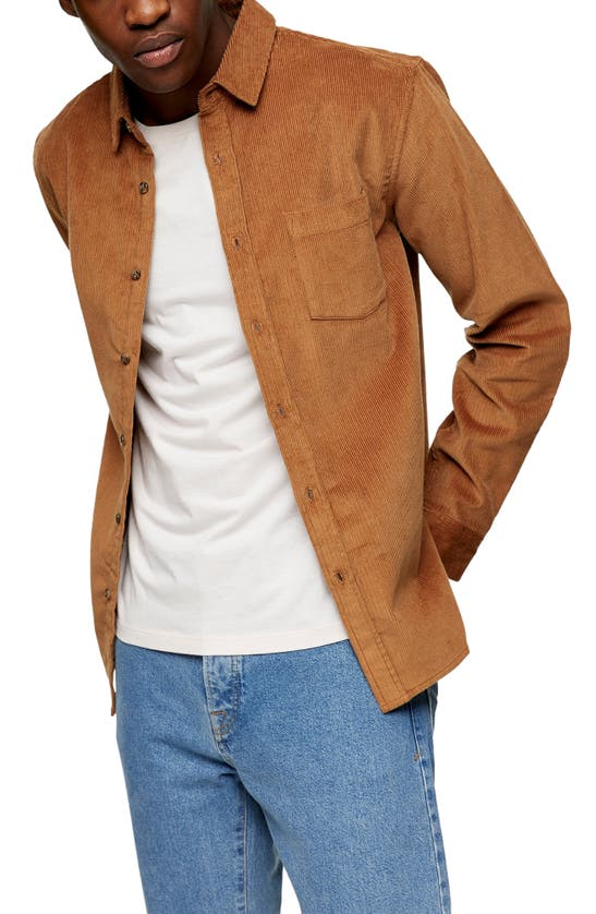 Topman Solid Corduroy Button-up Shirt In Brown