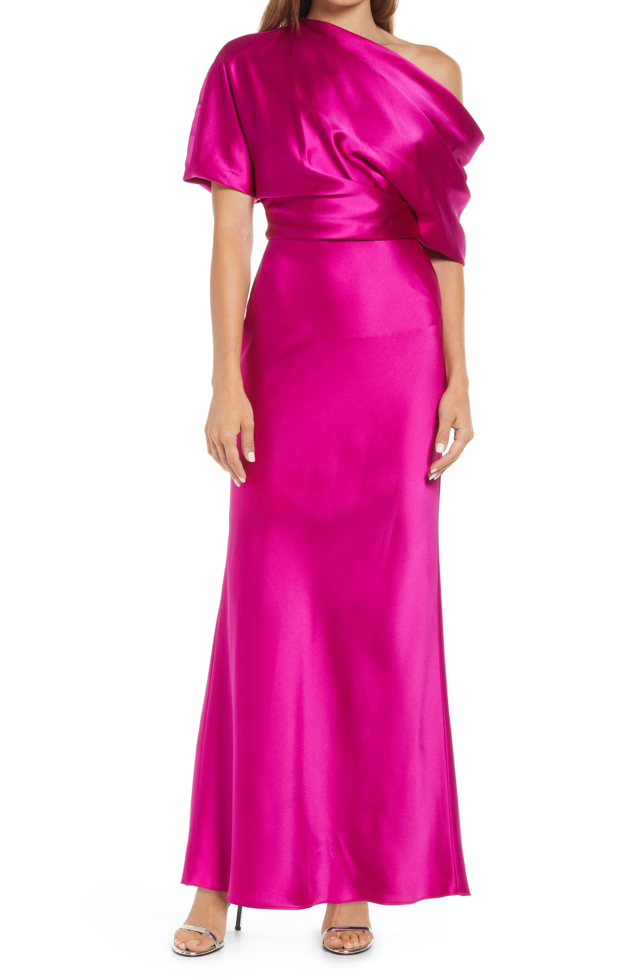 One-Shoulder Fluid Satin Gown