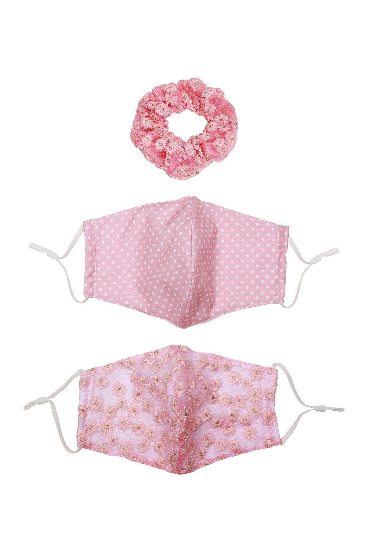 Image of Berry Floral Lace Mix Face Mask & Scrunchie Set - 3-Piece Set