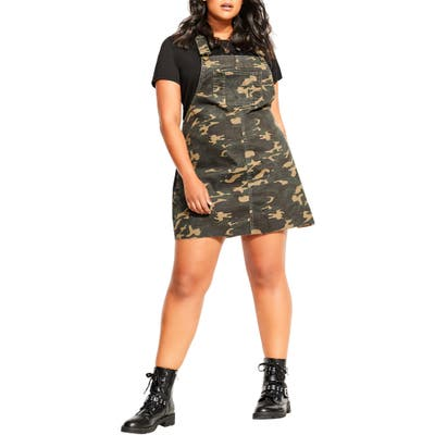 Plus Size City Chic Camo Pinafore Dress, Green