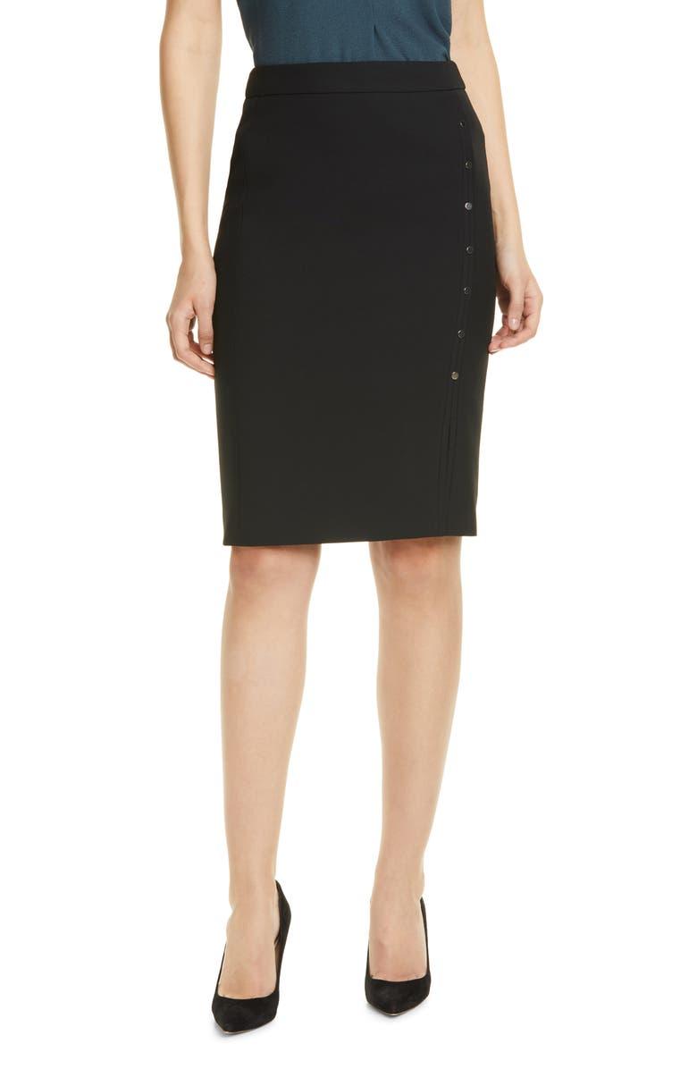 BOSS Vikilena Ponte Pencil Skirt, Main, color, BLACK