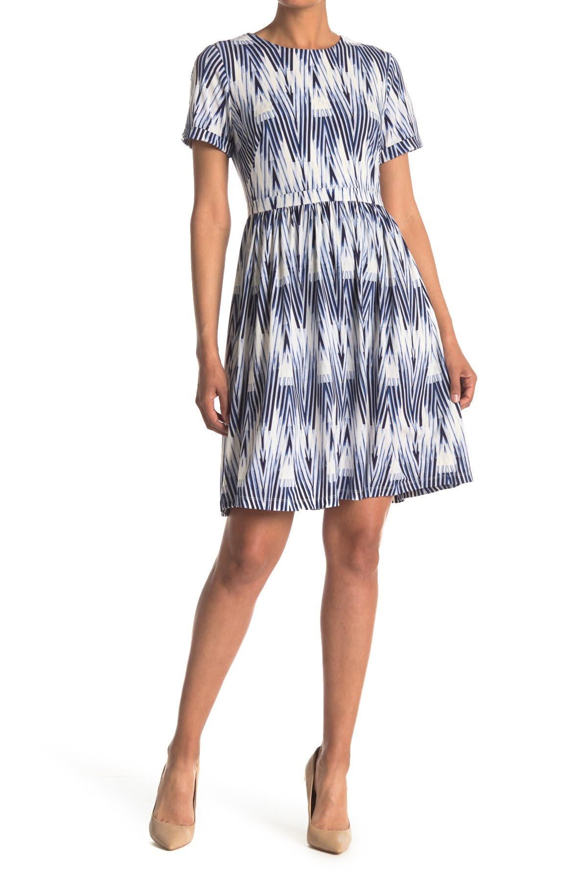 Image of Maggy London Short Sleeve Fit & Flare Dress