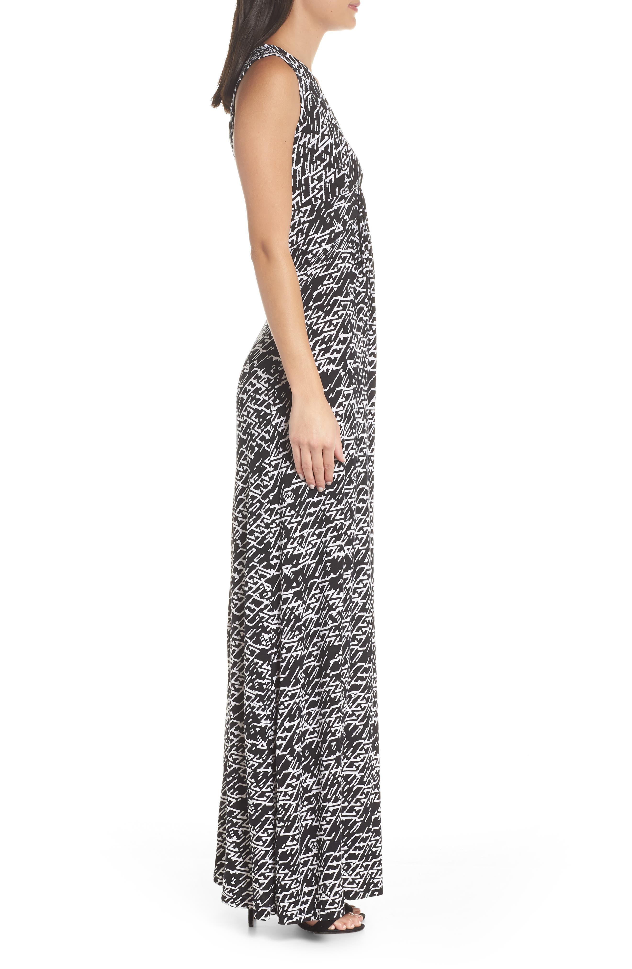 ,                             Plunge Neck Maxi Dress,                             Alternate thumbnail 4, color,                             005