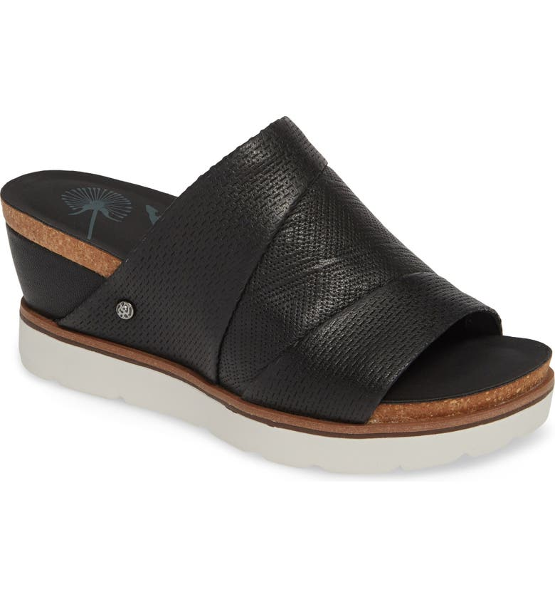 OTBT Earthshine Wedge Sandal, Main, color, BLACK LEATHER