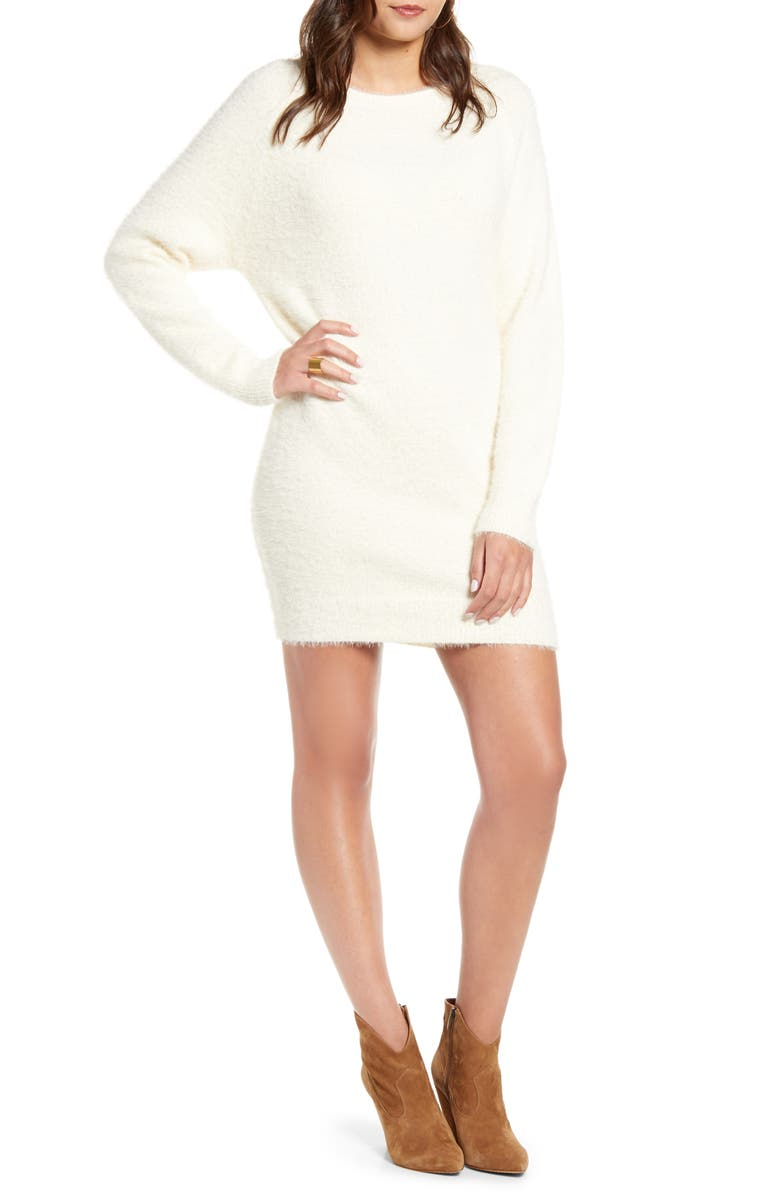 J.O.A. Contrast Tie Back Sweater Dress, Main, color, IVORY