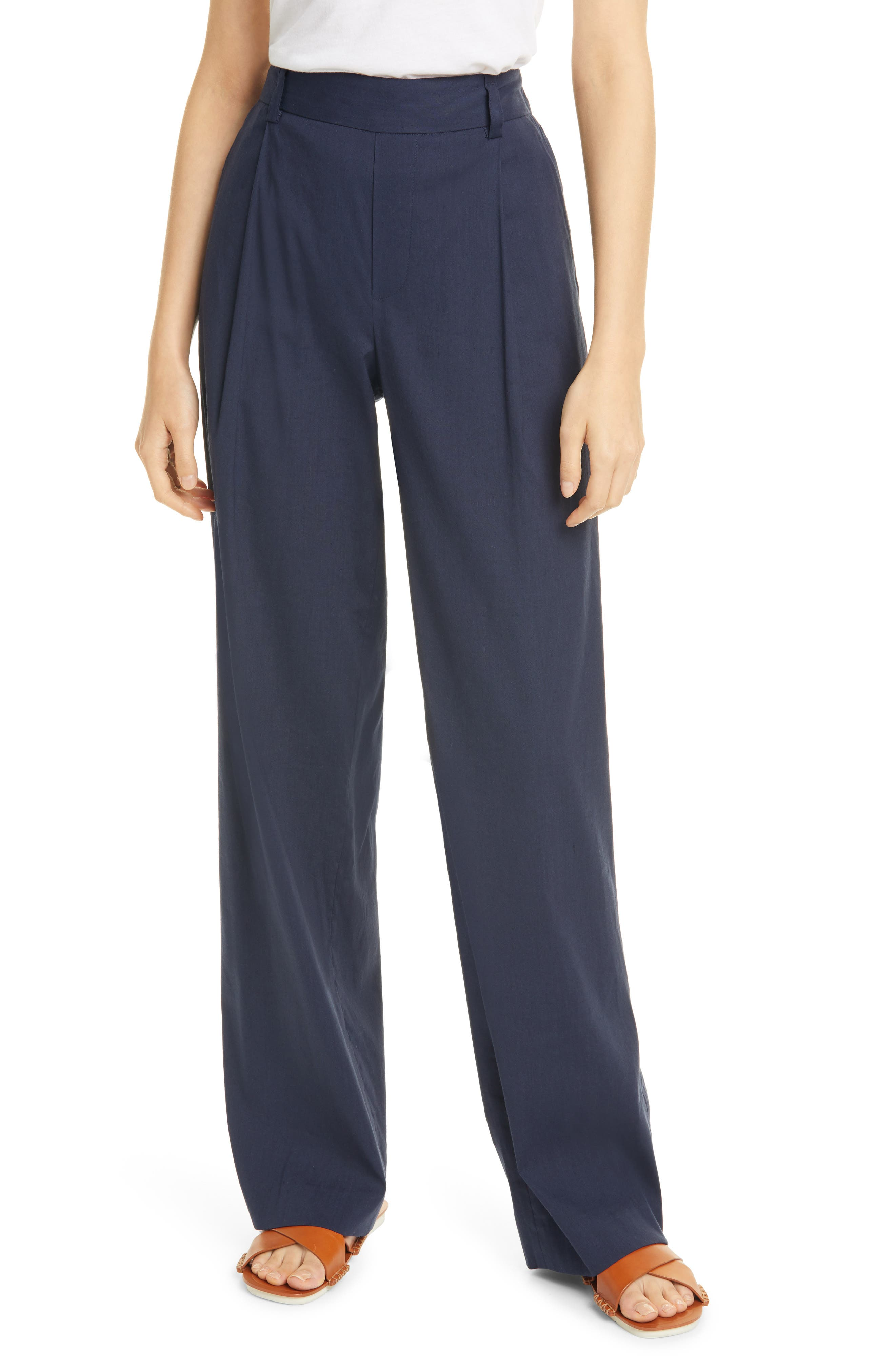 Vince Pleat Front Pull-On Linen Blend Trousers   Nordstrom