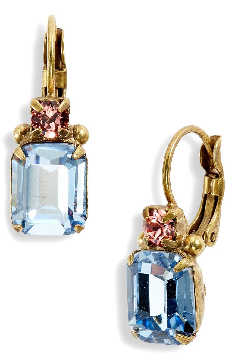 SORRELLI Bohemian Bright Emerald Cut Crystal Drop Earrings, Main, color, 710