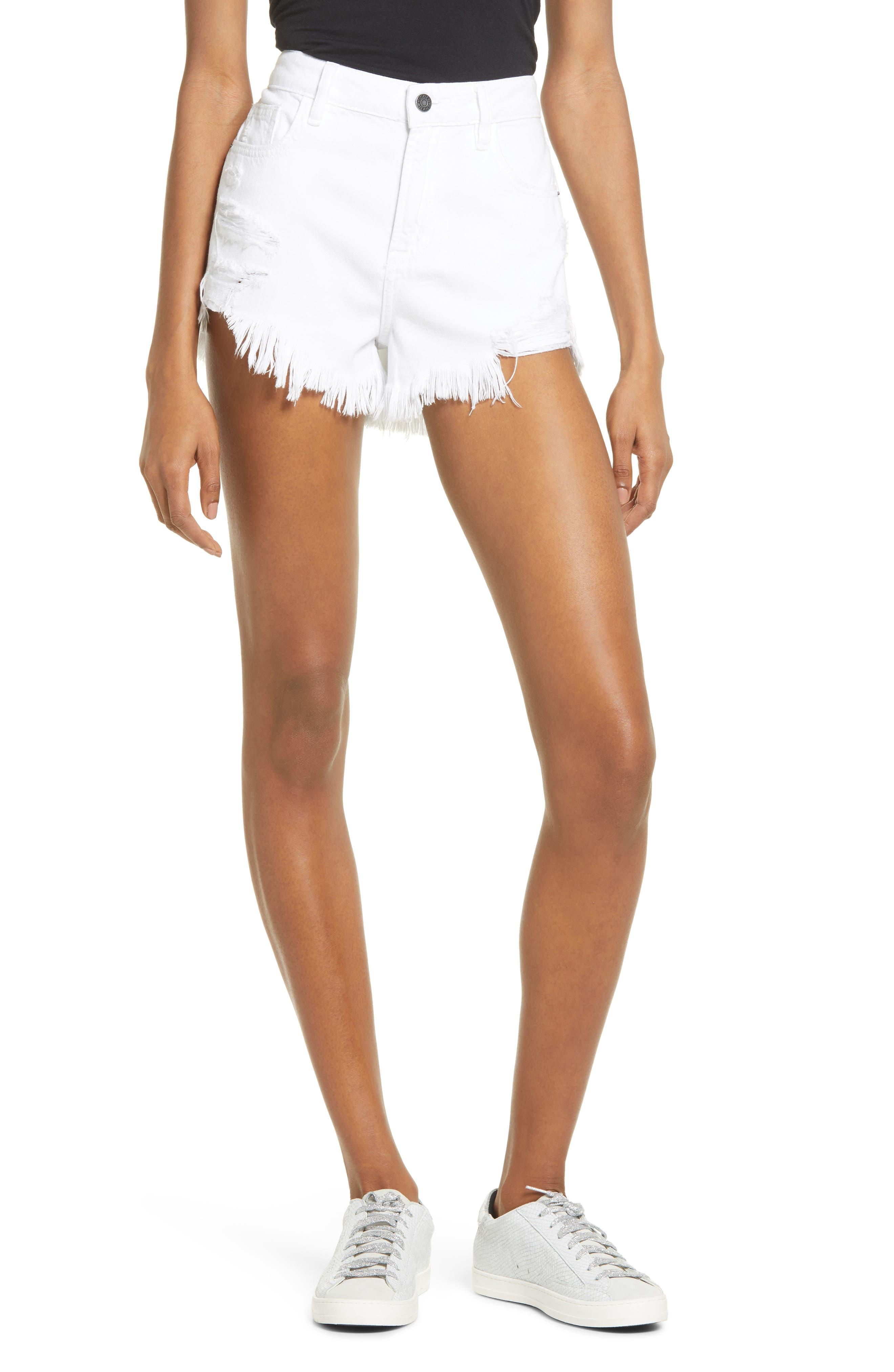 High Waist Frayed Hem Cutoff Denim Shorts