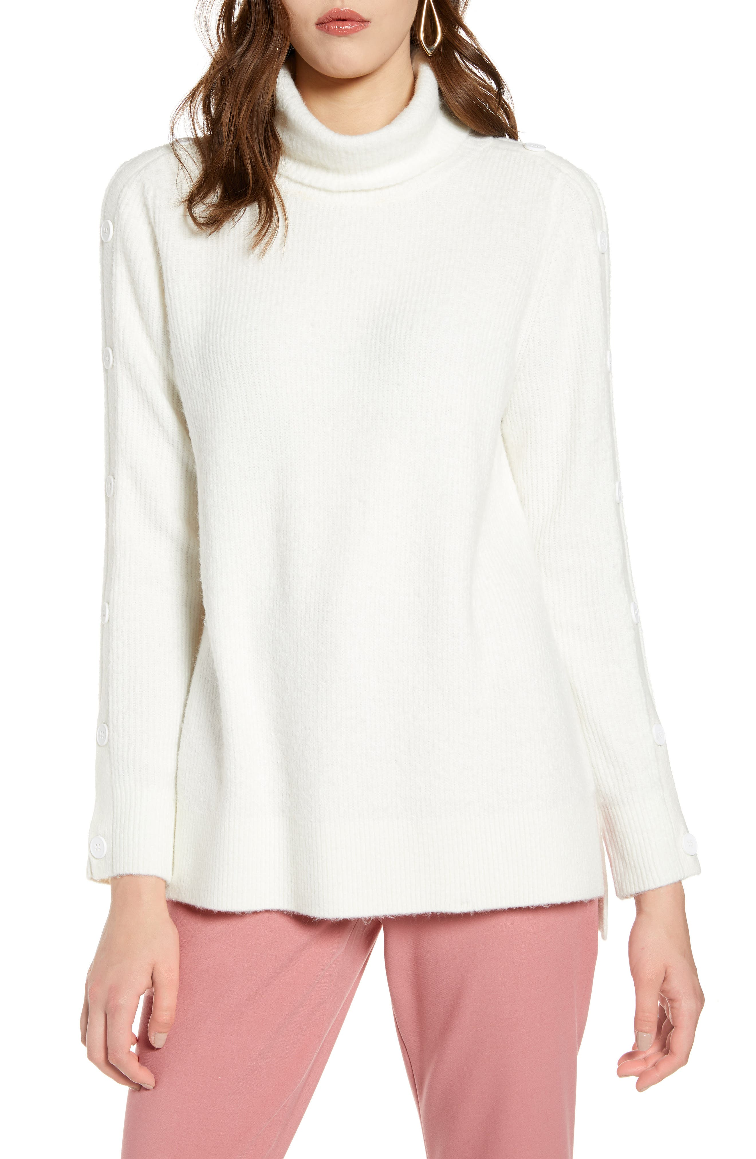 Halogen® Button Sleeve Turtleneck Sweater (Regular & Petite)