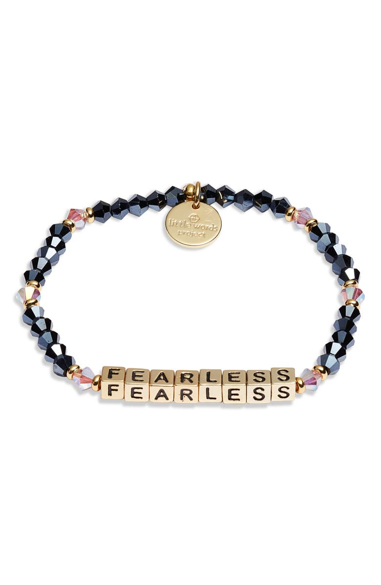 LITTLE WORDS PROJECT Fearless Beaded Stretch Bracelet, Main, color, MIDNIGHT DREAM GOLD