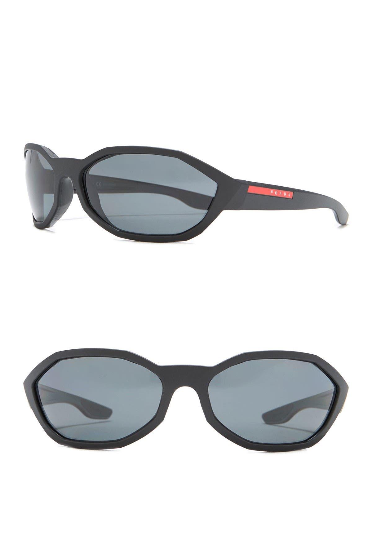 Image of PRADA LINEA ROSSA 67mm Wrap Around Sunglasses