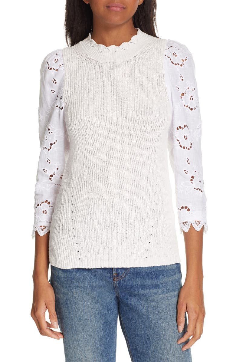 REBECCA TAYLOR Mix Media Eyelet Sleeve Cotton Sweater, Main, color, WASHED PETAL