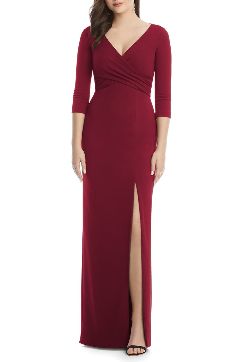 AFTER SIX Crisscross Stretch Crepe Evening Gown, Main, color, BURGUNDY